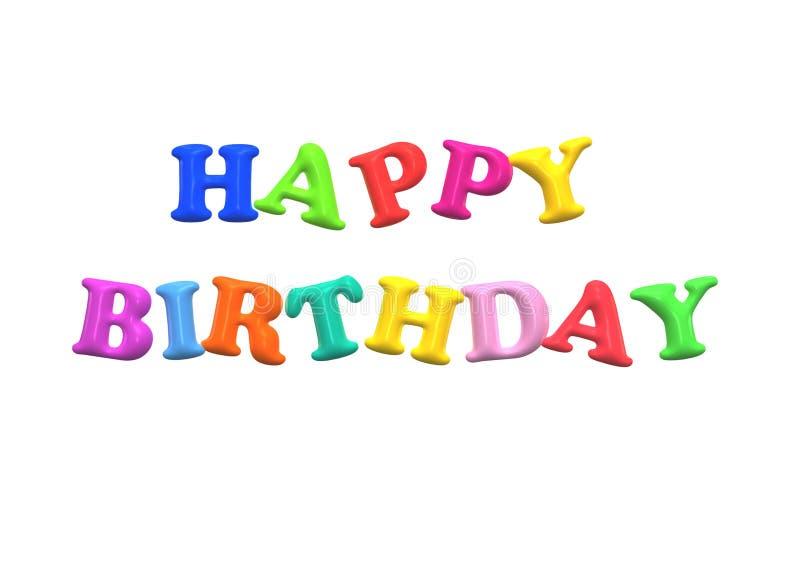 Gelukkige 3D Verjaardagsinschrijving - geef terug Ideaal voor malplaatje, achtergrond stock illustratie