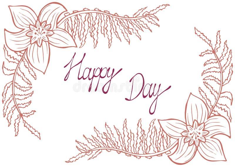 Gelukkige Dag Uitstekende achtergrond met oude bloemen zoals narcissen en varentak royalty-vrije illustratie