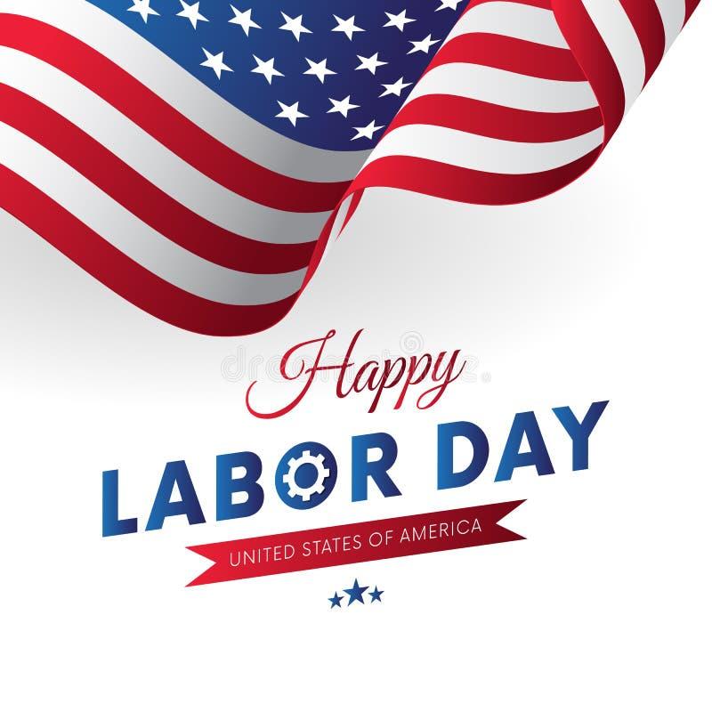 Gelukkige Dag van de Arbeid Witte achtergrond Golvende Vlag Rood gradiëntlint Vector stock illustratie