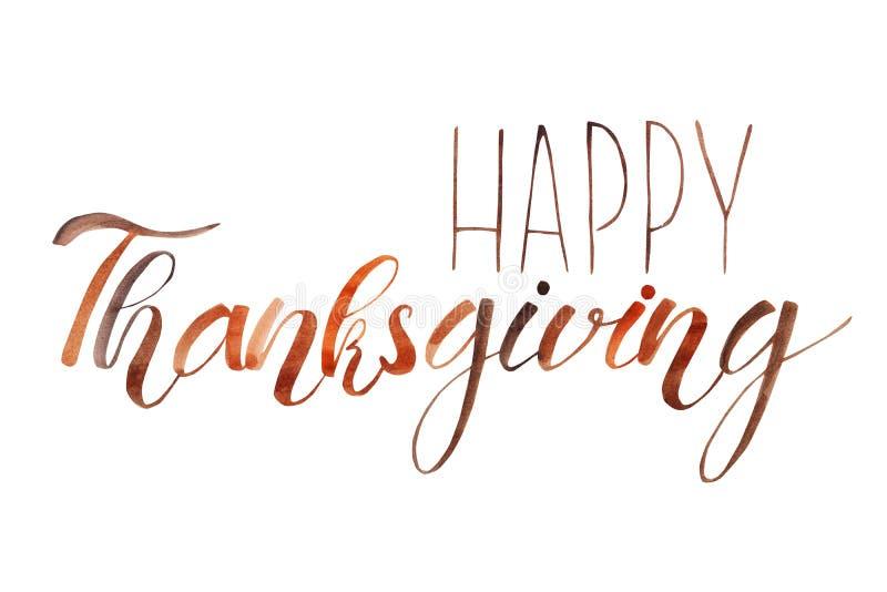 Gelukkige Dankzegging Hand het geschreven van letters voorzien De uitdrukking isoleerde witte achtergrond Dalingskalligrafie royalty-vrije illustratie