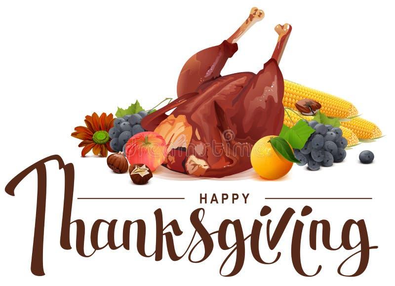 Gelukkige Dankzeggings van letters voorziende tekst Rijke oogst van druiven, appel, graan, oranje en geroosterd Turkije vector illustratie