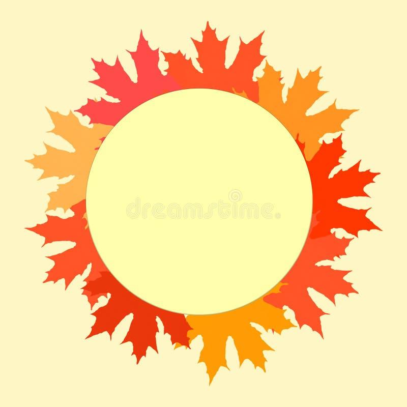 Gelukkige Dankzeggingsaffiche, kaart met lege cirkel Kroon van de kleurrijke illustratie van de herfstbladeren Thanksgiving daypr stock illustratie