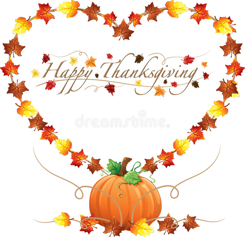 Gelukkige Dankzeggingshart en pompoenengrens vector illustratie