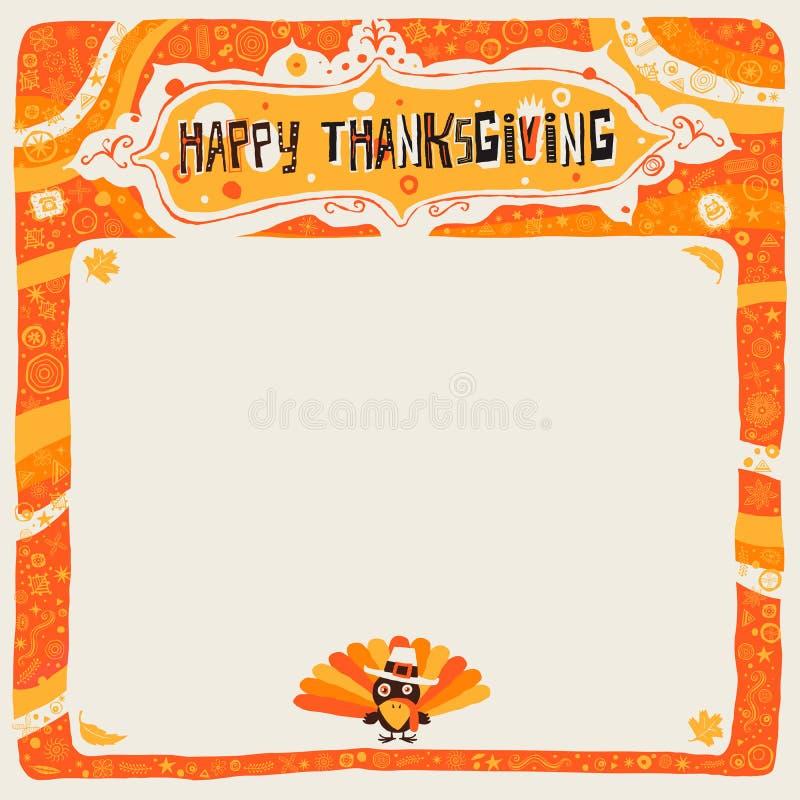Gelukkige Dankzeggingsprentbriefkaar, affiche, achtergrond, ornament of uitnodiging vector illustratie