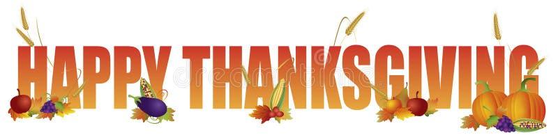 Gelukkige Dankzeggingstekst met Vruchten en Plantaardige Illustratie stock illustratie