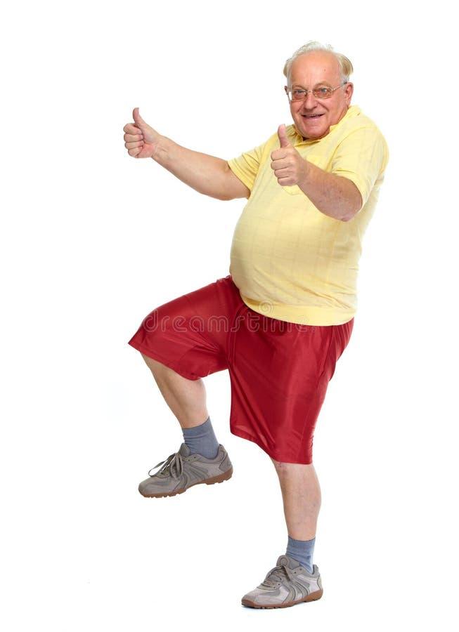 Gelukkige dansende oude mens royalty-vrije stock foto's