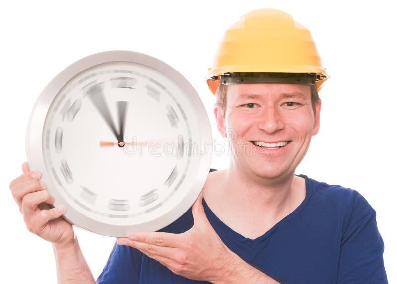 Gelukkige de bouwtijd (het spinnen de versie van horlogehanden) stock foto