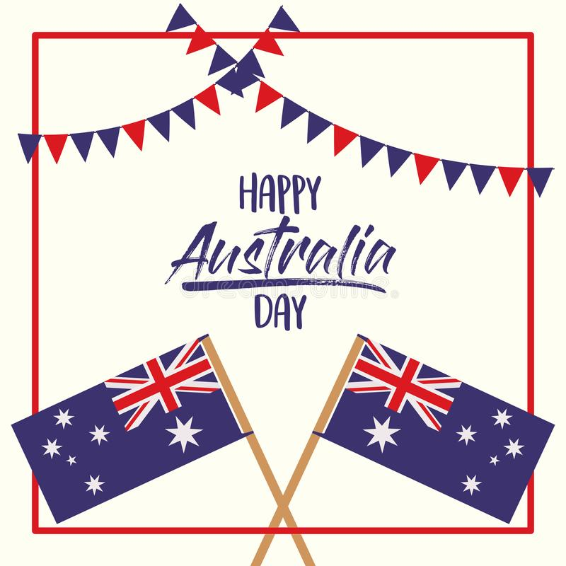 Gelukkige de dagaffiche van Australië met gekruiste vlaggen Australië over rood kader met slingers op witte achtergrond vector illustratie