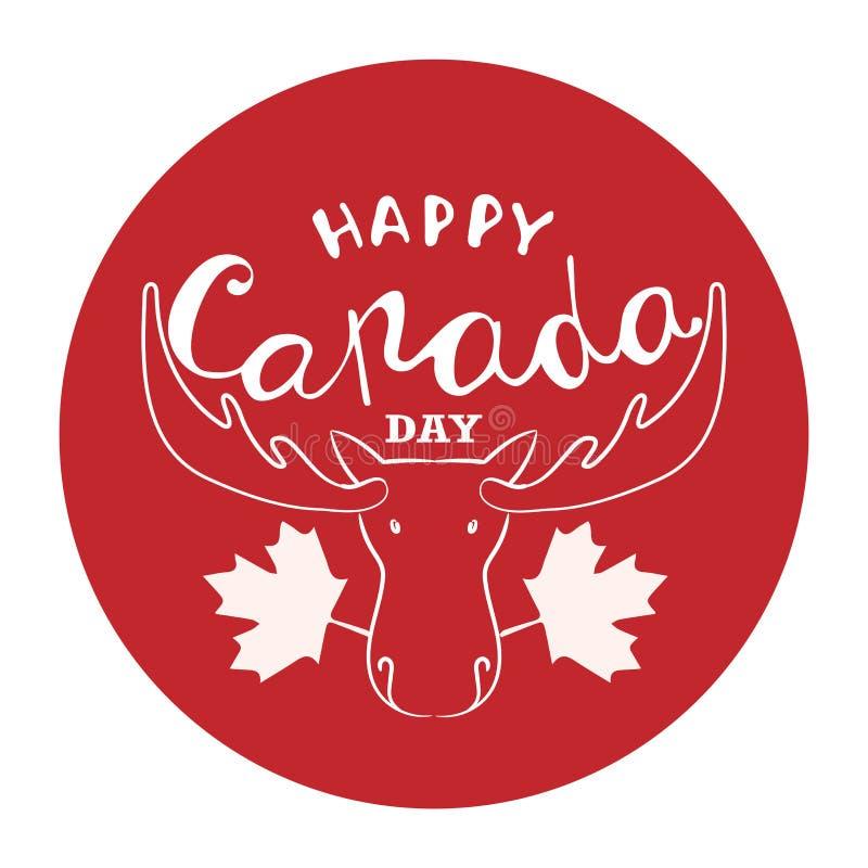 Gelukkige de Dagaffiche van Canada De vectorkaart van de illustratiegroet met hand het getrokken kalligrafie van letters voorzien royalty-vrije stock fotografie