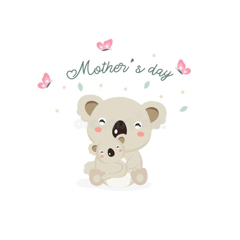 Gelukkige de dagkaart van de Moeder `s Moederkoala die haar baby koesteren royalty-vrije stock afbeelding
