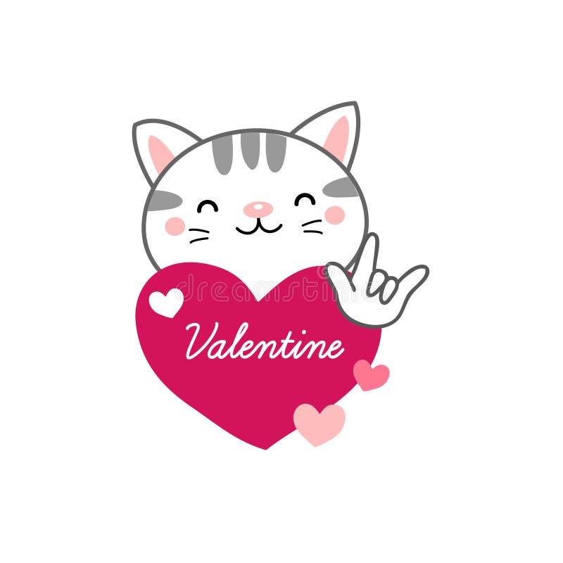 Gelukkige de dagprentbriefkaar van Valentine ` s Leuke katten in liefde stock illustratie