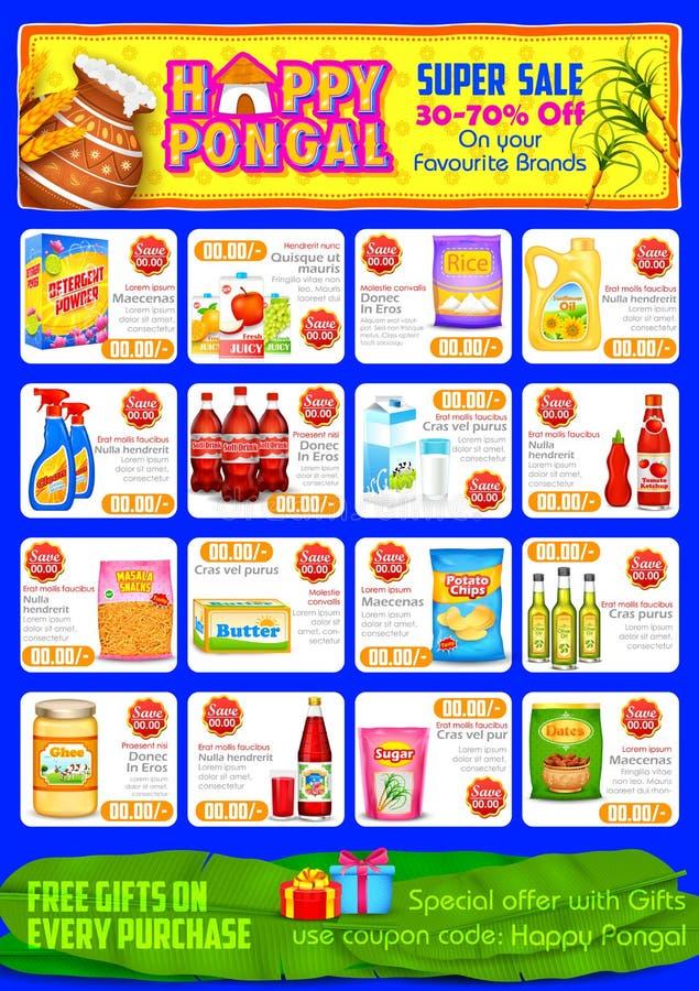 Gelukkige de groet en het winkelen van Pongal achtergrond royalty-vrije illustratie