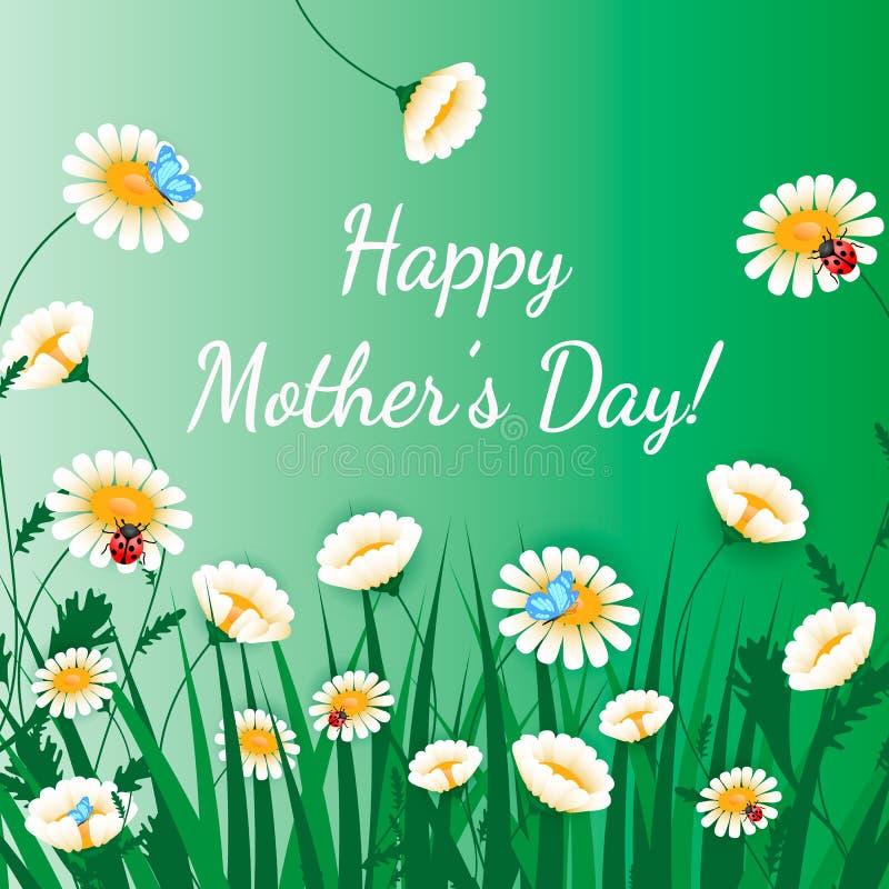 Gelukkige de groetkaart van de Dag van Moeders Gras met witte kamilles op groen Bloemenaardachtergrond Vectorbloem met vlinder en stock illustratie