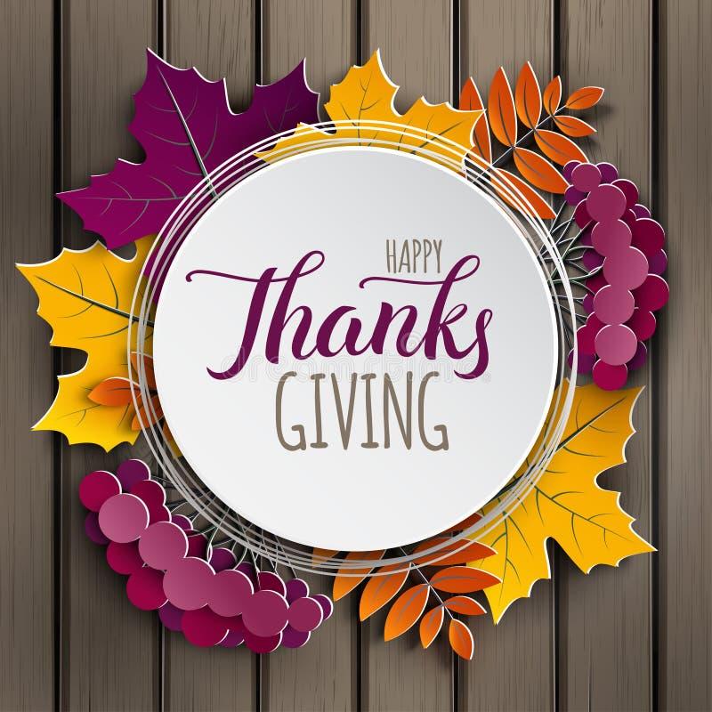 Gelukkige de groetkaart van de Dankzegging De herfst bloemendocument kader en document kleurrijke boombladeren op houten achtergr vector illustratie