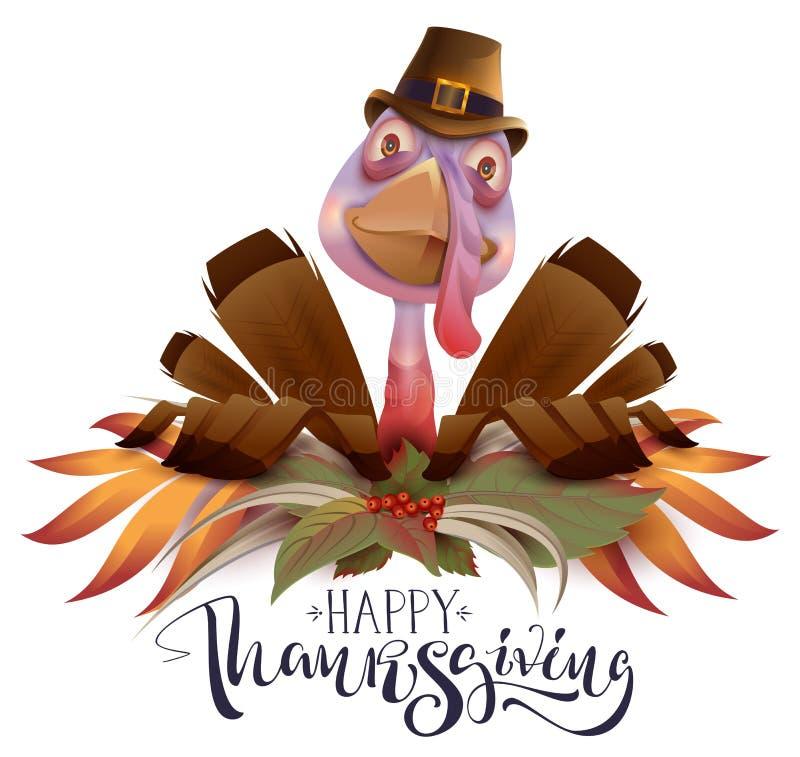 Gelukkige de groetkaart van de Dankzeggingstekst Het symbool van vogelturkije van Thanksgiving day stock illustratie