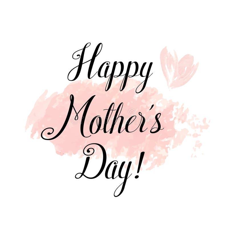 Gelukkige de groetkaart van de Dag van Moeders Het zwarte Kalligrafie van letters voorzien vector illustratie