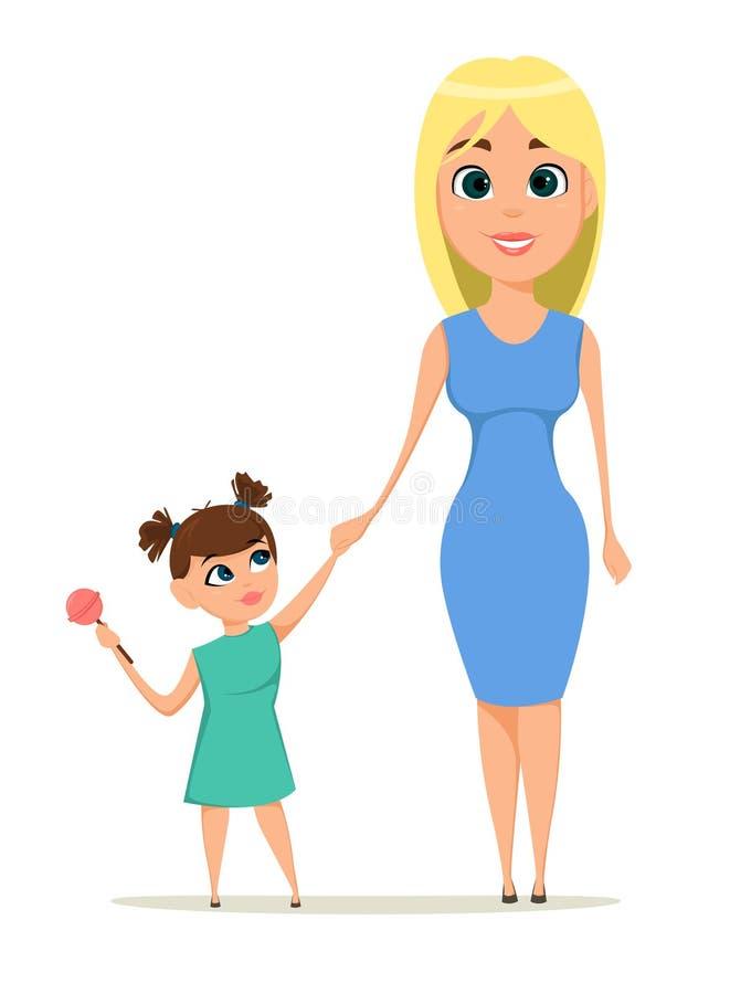 Gelukkige de groetkaart van de Moeder` s Dag Moeder die haar dochterhand houden vector illustratie