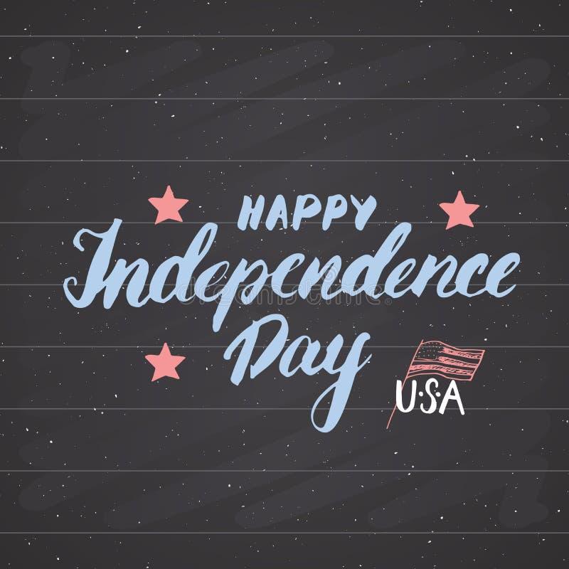 Gelukkige de groetkaart van de V.S. van de Onafhankelijkheidsdag Uitstekende, de viering van de Verenigde Staten van Amerika Hand stock illustratie