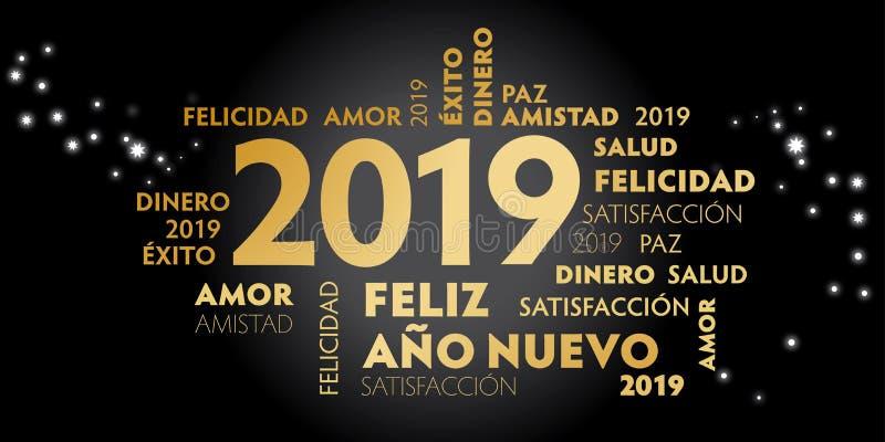 Gelukkige de groetkaart van de Nieuwjaar Spaanse Taal met Spaanse slogan stock illustratie