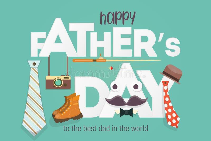 Gelukkige de groetkaart van de Vader` s dag royalty-vrije illustratie