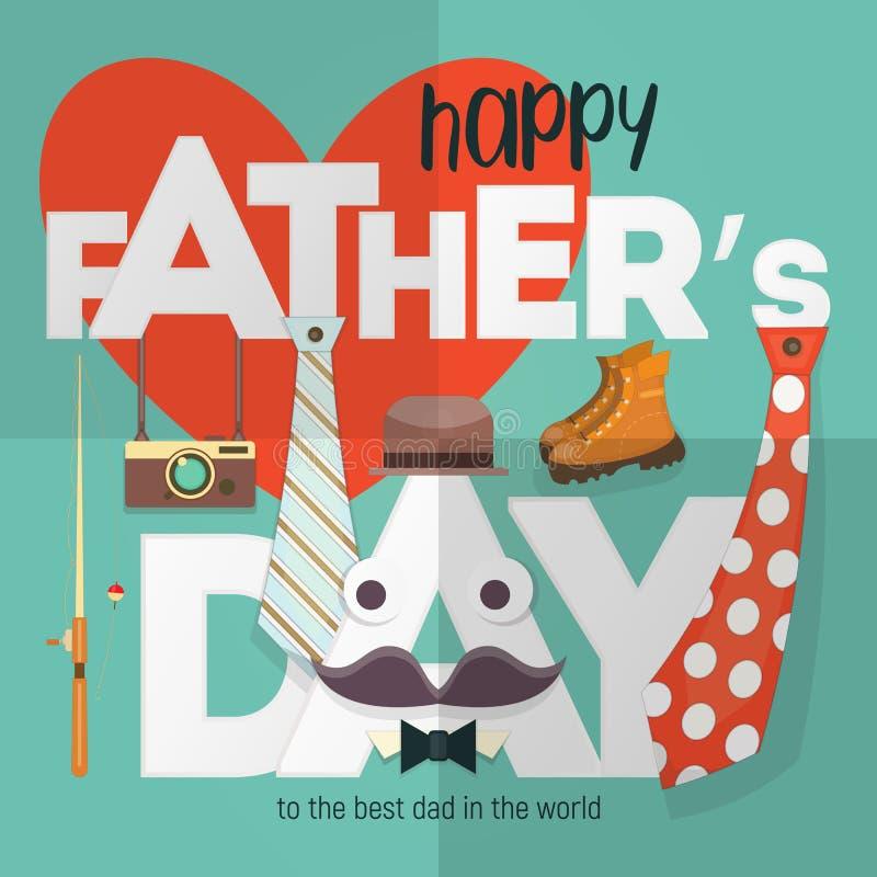 Gelukkige de groetkaart van de Vader` s dag vector illustratie