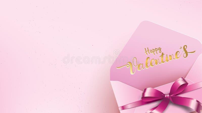 Gelukkige de groetkaart van de Valentijnskaartendag met roze envelop en purper hart Gouden het conceptentekst van de valentijnska vector illustratie