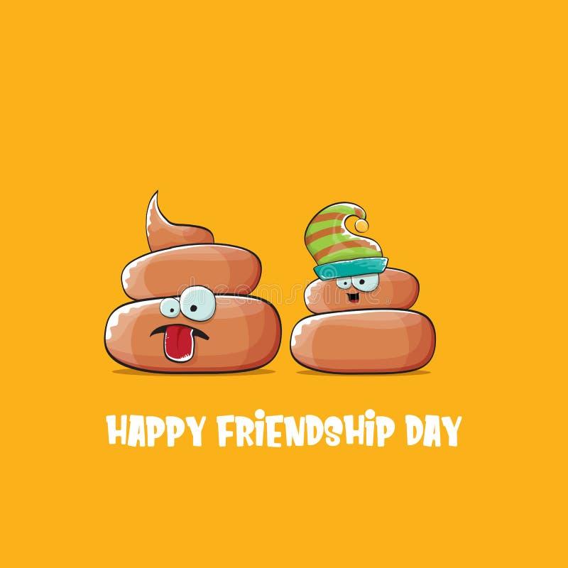 Gelukkige de groetkaart van de vriendschapsdag met vector grappige die de vriendenkarakters van beeldverhaalpoo op oranje achterg royalty-vrije illustratie