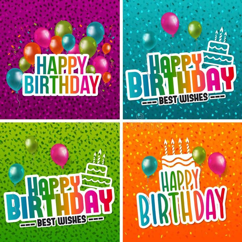 Gelukkige de groetmalplaatjes van de verjaardagsinzameling Uitnodigingskaarten aan de partij vector illustratie