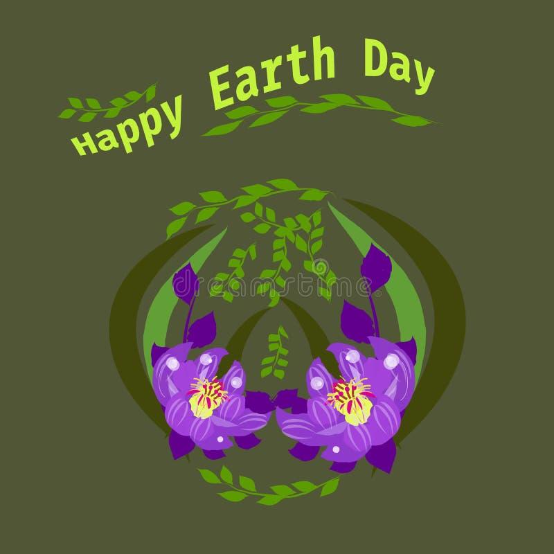Gelukkige de hand van letters voorziende kaart van de Aardedag, achtergrond Vectorillustratie met bladeren voor banner, affiche stock illustratie