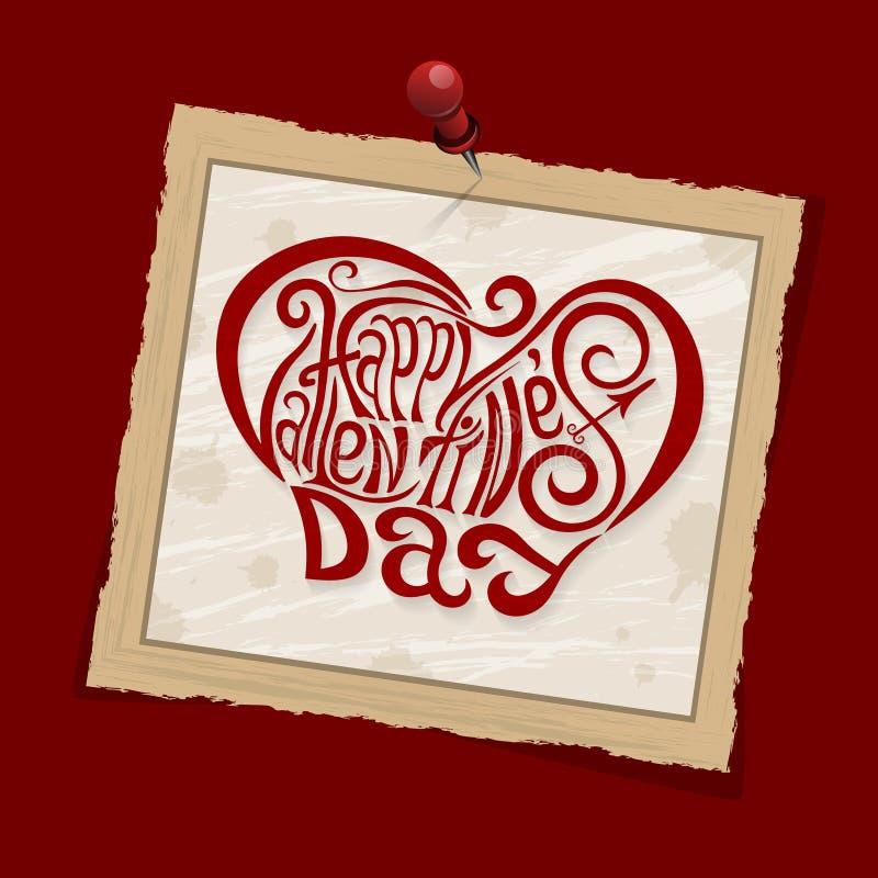 Gelukkige de handtekening die van de Valentijnskaartendag rood gestileerd ontwerp van letters voorziet stock illustratie