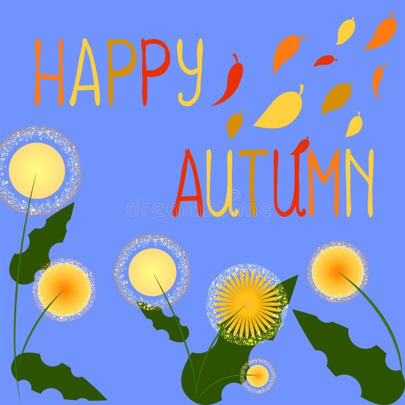 Gelukkige de herfstachtergrond Gele bloemenrudbeckia Dalende Bladeren vector illustratie