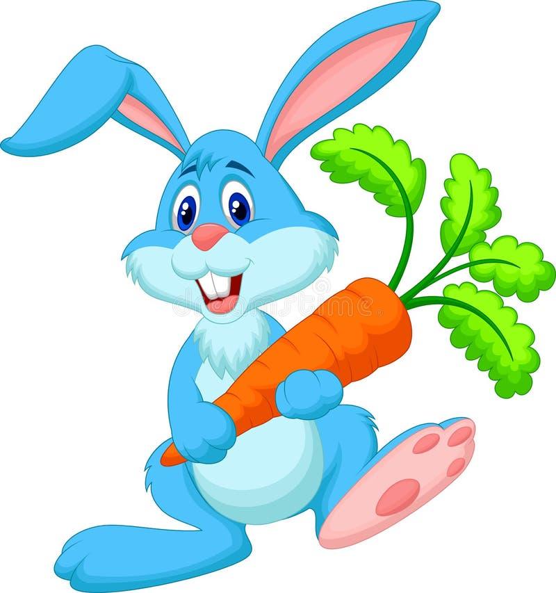 Gelukkige de holdingswortel van het konijnbeeldverhaal royalty-vrije illustratie