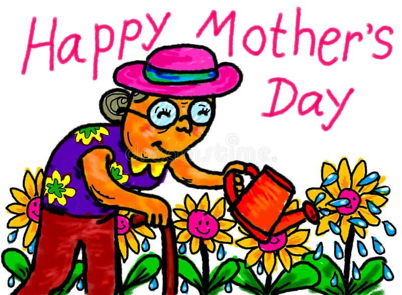 Gelukkige de Illustratietekening van de Moeder` s Dag royalty-vrije illustratie