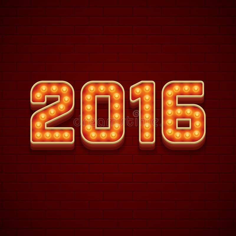 Gelukkige de Kaart 3d Signage van de Nieuwjaar 2016 Groet royalty-vrije illustratie