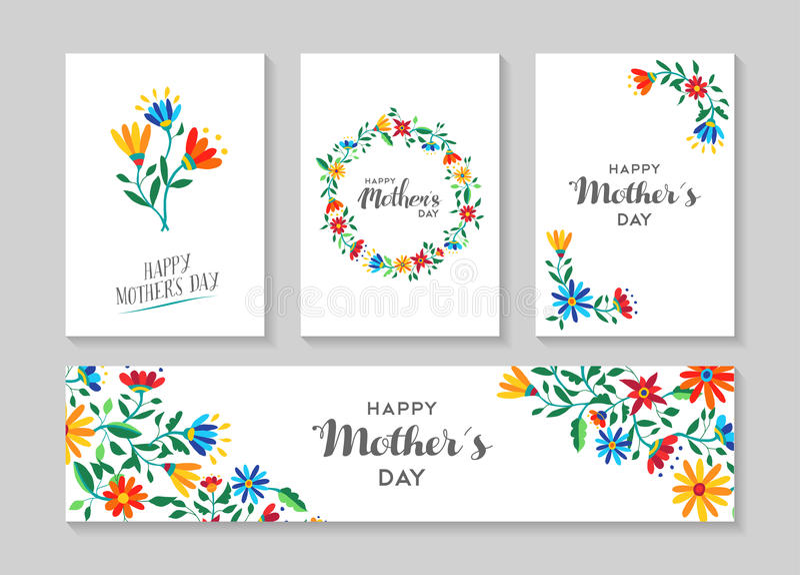 Gelukkige de kaart en het etiket bloemenreeks van de moedersdag vector illustratie