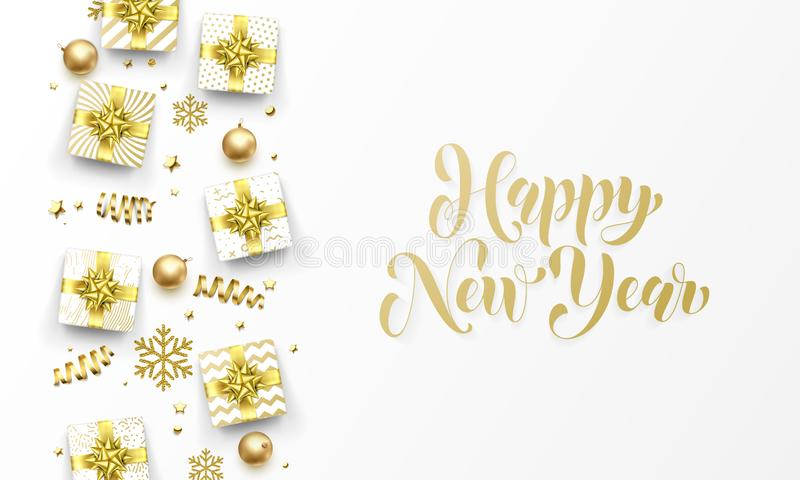 Gelukkige de kaart gouden giften van de Nieuwjaar gouden groet, sterrenconfettien en sneeuwvlokken De vectorontwerpsjabloon van p royalty-vrije illustratie