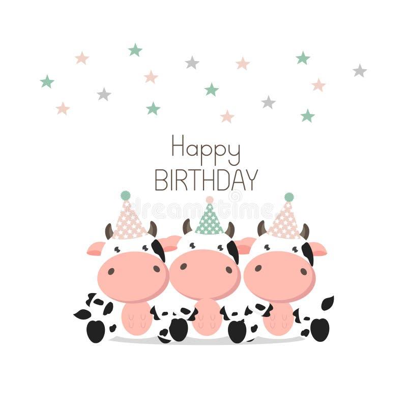 Gelukkige de kaart Leuke Koeien van de Verjaardagsgroet vector illustratie