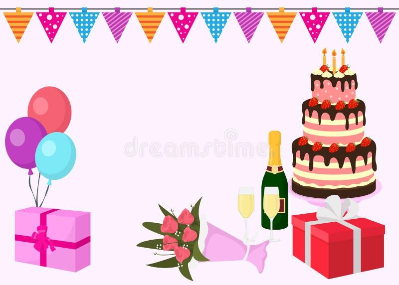 Gelukkige de kaartachtergrond van de verjaardags vectorgroet met kleurrijke ballons, giftdoos met linten, bloemen, grote cake met vector illustratie