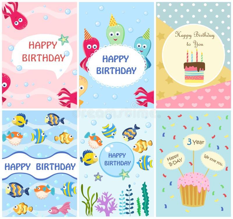 Gelukkige de kaartenmalplaatjes van de verjaardagsgroet en partijuitnodigingen, reeks prentbriefkaaren vector illustratie