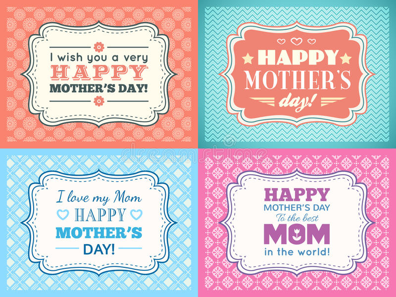 Gelukkige de kaartreeks van de Moedersdag De doopvont van de typografiebrief royalty-vrije illustratie