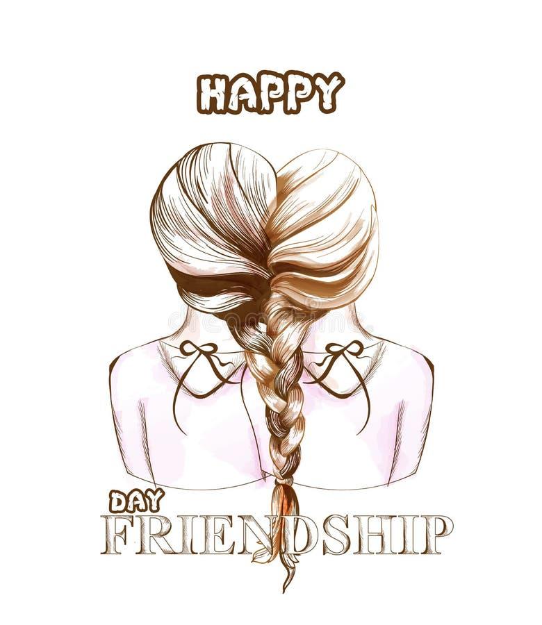 Gelukkige de kaartvector van de vriendschapsdag Twee die meisjes door haarvlechten worden verenigd vector illustratie