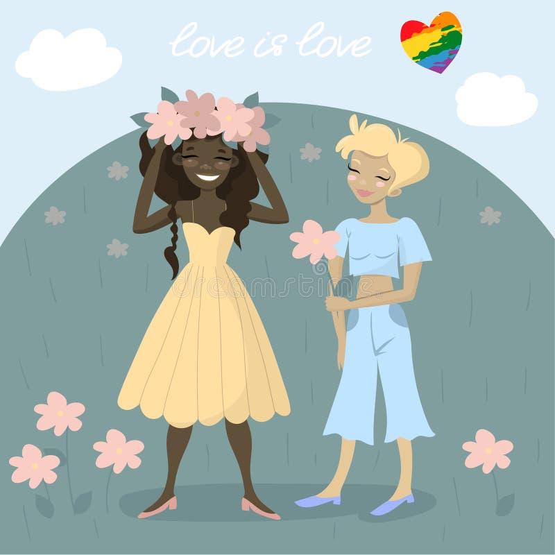 Gelukkige de lesbiennes verzamelen samen bloemen in de weide Romantische Homoseksuele illustratie stock illustratie