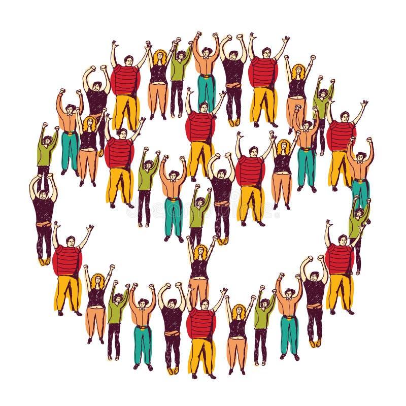 Gelukkige de menigte van de symboolvrede stock illustratie