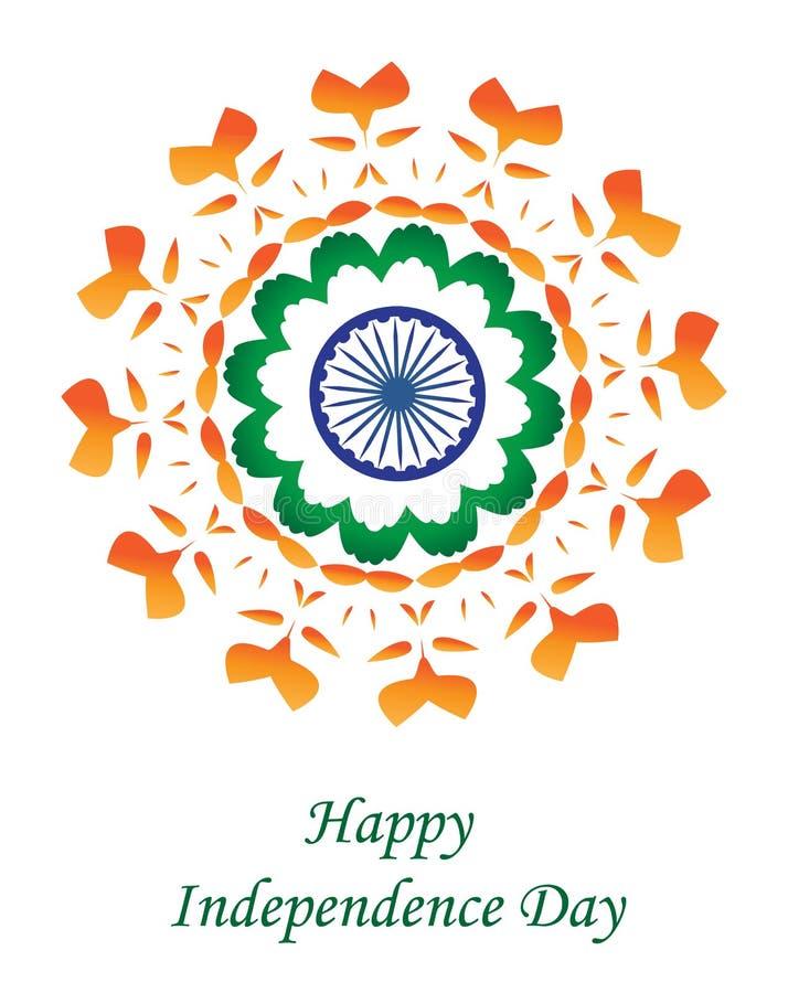Gelukkige de Onafhankelijkheidsdag van India De groetkaart India van de onafhankelijkheidsdag Vector illustratie royalty-vrije illustratie