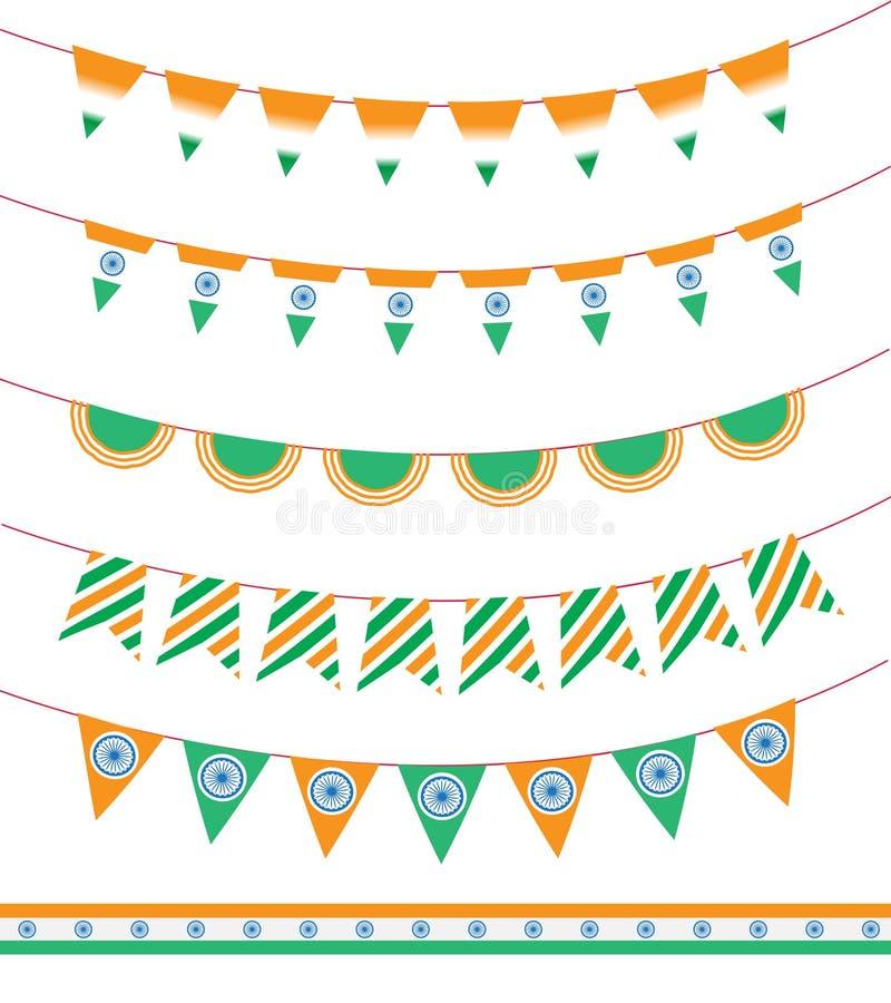 Gelukkige de Onafhankelijkheidsdag van India reeks van lintslinger en vlag Vector illustratie vector illustratie