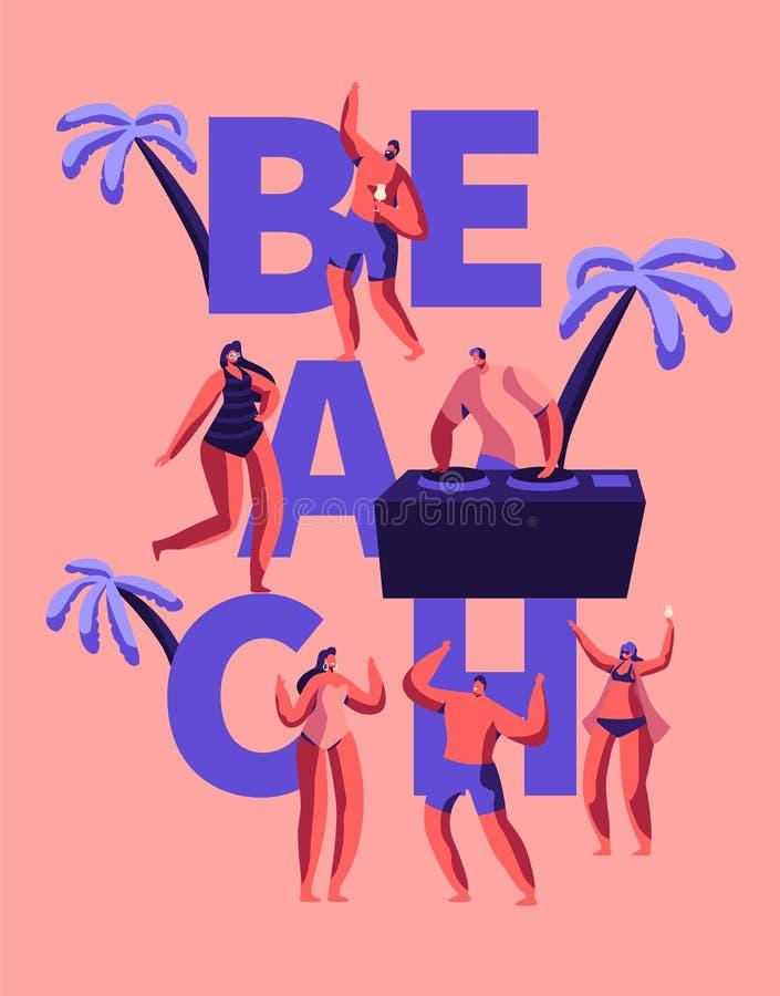 Gelukkige de Partij van het de zomerstrand ijlt Typografieaffiche Tropische het Spelmuziek van Clubdj voor Mensen Openlucht Karak stock illustratie