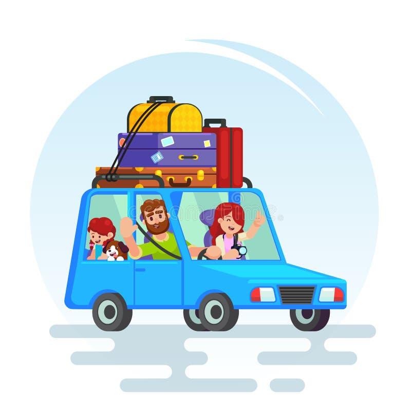 Gelukkige de reisvader van de paarauto, moeder, meisje, hond Huiselijke man stock illustratie