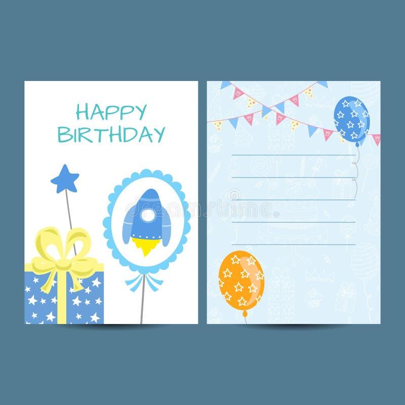 Gelukkige de roosterillustratie van de verjaardagsprentbriefkaar royalty-vrije illustratie