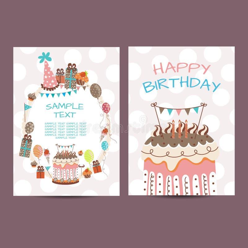 Gelukkige de roosterillustratie van de verjaardagsprentbriefkaar stock illustratie