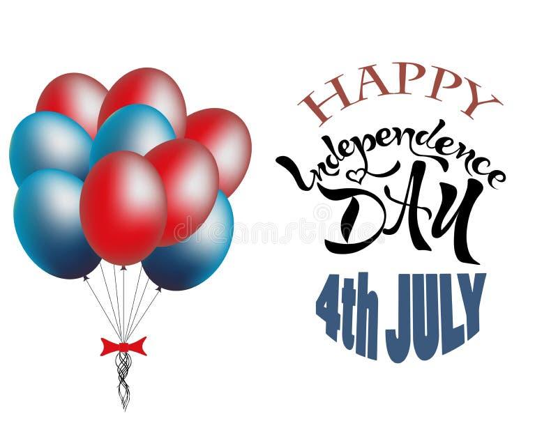 gelukkige de tekst van juli van de onafhankelijkheidsdag 4de het van letters voorzien vakantie stock fotografie